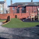 64m² artificial grass and 46m² black wetpour in Morecambe, Lancashire